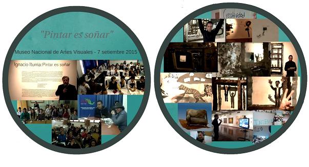 El grA?fico de la izquierda muestra la bienvenida del director del museo y las salas nacionales e internacionales que asistieron virtualmente. Las imA?genes de la derecha son diferentes momentos de interacciA?n entre el guA�a, las obras y el pA?blico remoto.